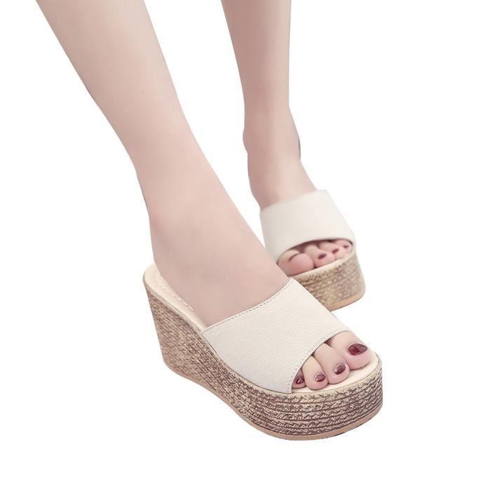 Fond Sandales Chaussures À 39 Beige Plate Mode Plateforme Peep Femmes Solide Épais Chausson Toe qxfYInpCw
