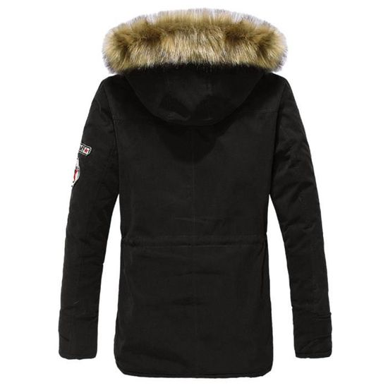 Veste De Moyenne Hiver Velours Noir À Coton Capuche Longueur Impression Homme Loisirs Manteau Alphabétique CPPx8w5q
