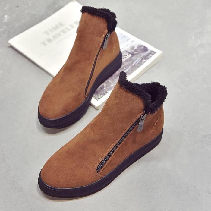 Bottes Femme Chaussures Talons Flockr Pour Bas Neige D'hiver Bottines zwgHqZ