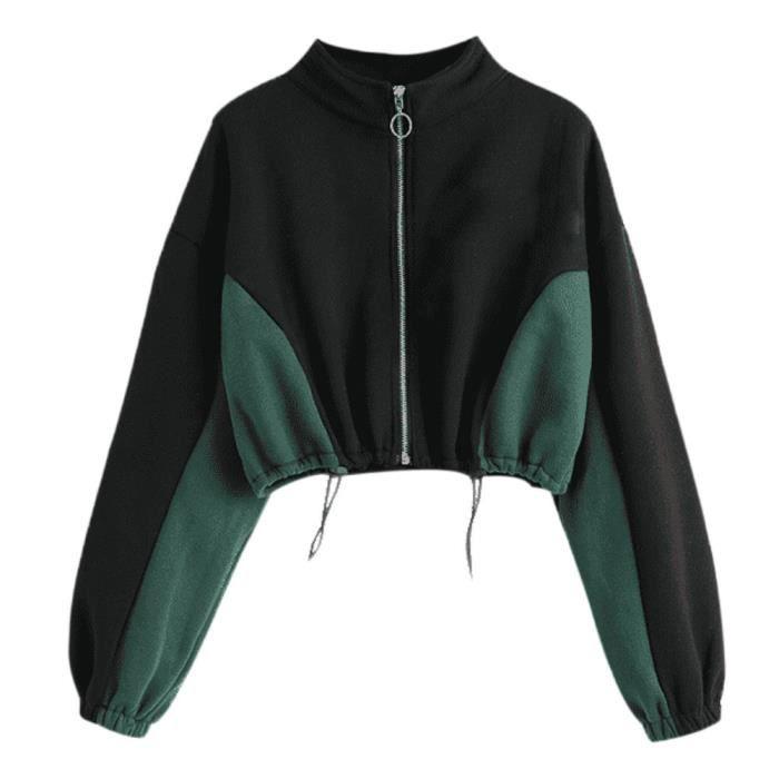 Top Longues Sweat Femmes Chemisier shirt Court Manches Noir Gracemui Rond Col Zipper Sweat 4XOwIqqzS