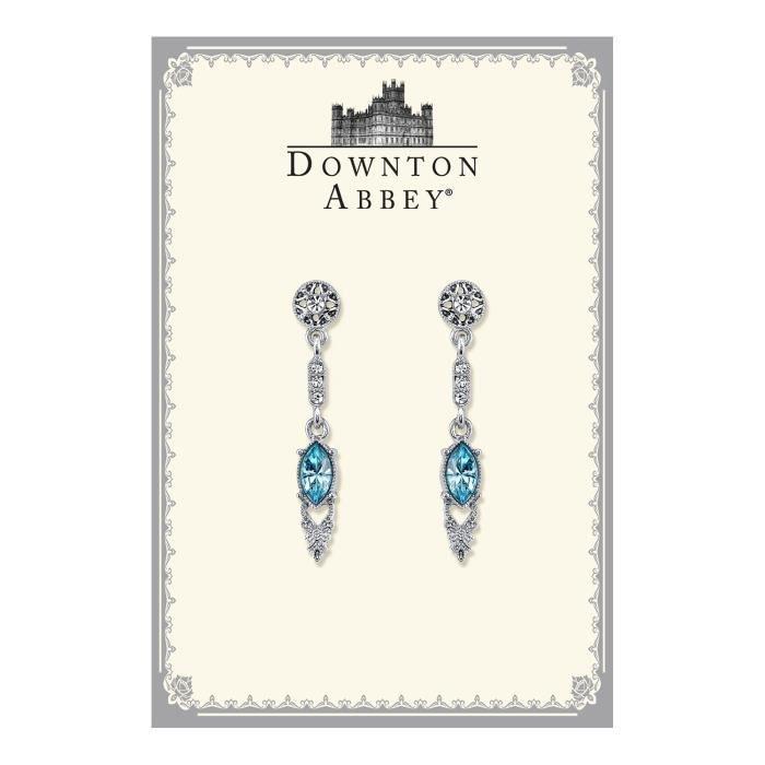 Downton Abbey Boxed Femmes ton argent Boucles doreilles en cristal Aquamarine