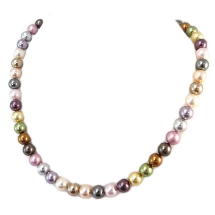 Collier artisanal Tsarine perles multicolore argenté - 8 mm [P4551]
