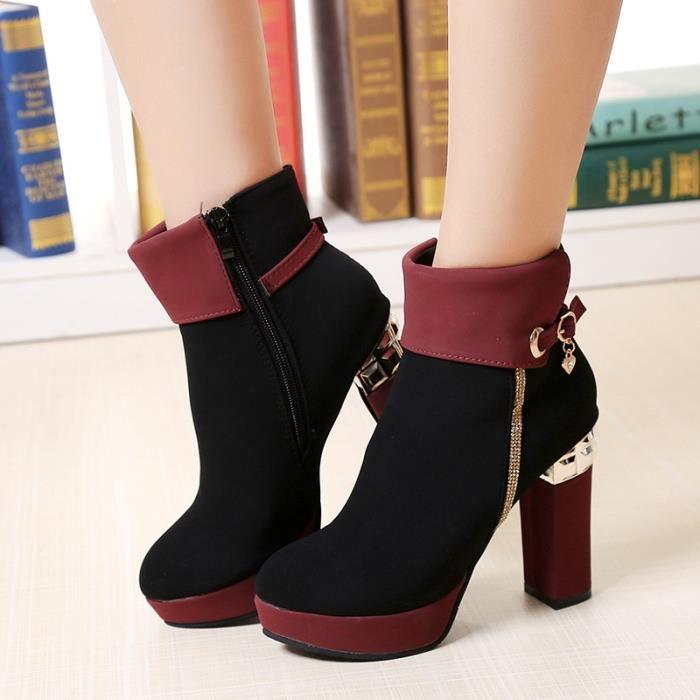 Nouveau Femmes Mode Marque Sexy Lacet Bottes Lady filles printemps et d'automne bottes à hauts talons Chaussures Casual,noir,35