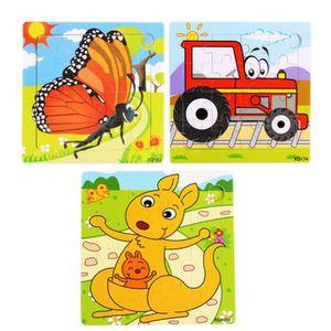 PUZZLE 3 PCS Mignon Petit Bois 16 Piece Puzzle pour bébé,