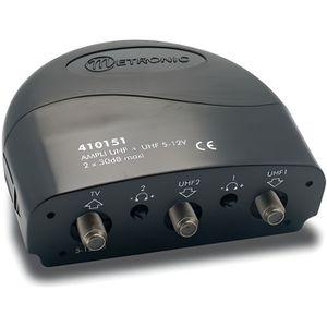 REPETEUR DE SIGNAL Amplificateur 2 entrées UHF 410151 METRONIC