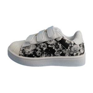 Souvent baskets fille blanche avec fleur noire à scratch Blanc blanche  RI49