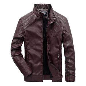 BLOUSON - VESTE Blouson Moto Homme D'hiver Simili Cuir Casual Vest