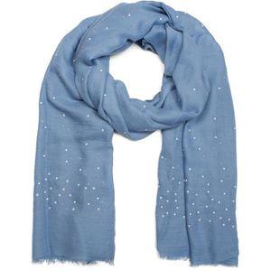 styleBREAKER Écharpe unie avec strass et perles sur toute la surface,  franges, foulard, femmes 01016154  Bleu jean  3673930874a