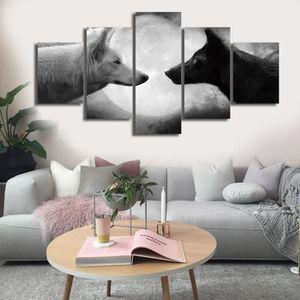 Tableau loup design 8 5pcs deux loups gris tableaux peinture murale cane