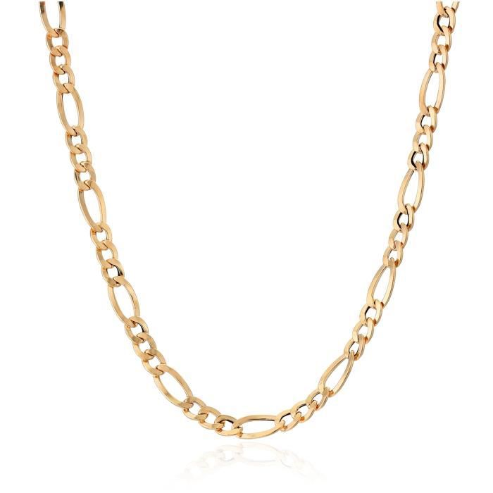 14k Gold Italian 3+1 Figaro Link Chain Necklace, 18 AA46T