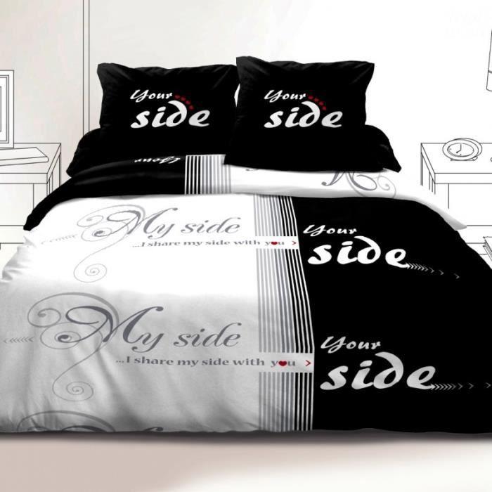 housse de couette couple achat vente housse de couette couple pas cher cdiscount. Black Bedroom Furniture Sets. Home Design Ideas