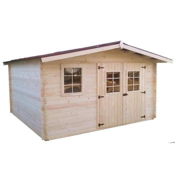 Abri de jardin en bois 4x4 m paisseur 28mm capri achat vente - Cdiscount abri de jardin ...