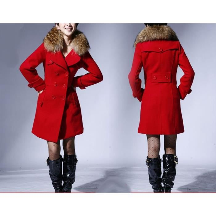 Manteau rouge femme solde