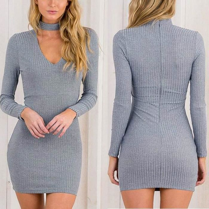 Fashion Lady Dress jupe en tricot robe sexy robe longue à manches nouveau mince robe