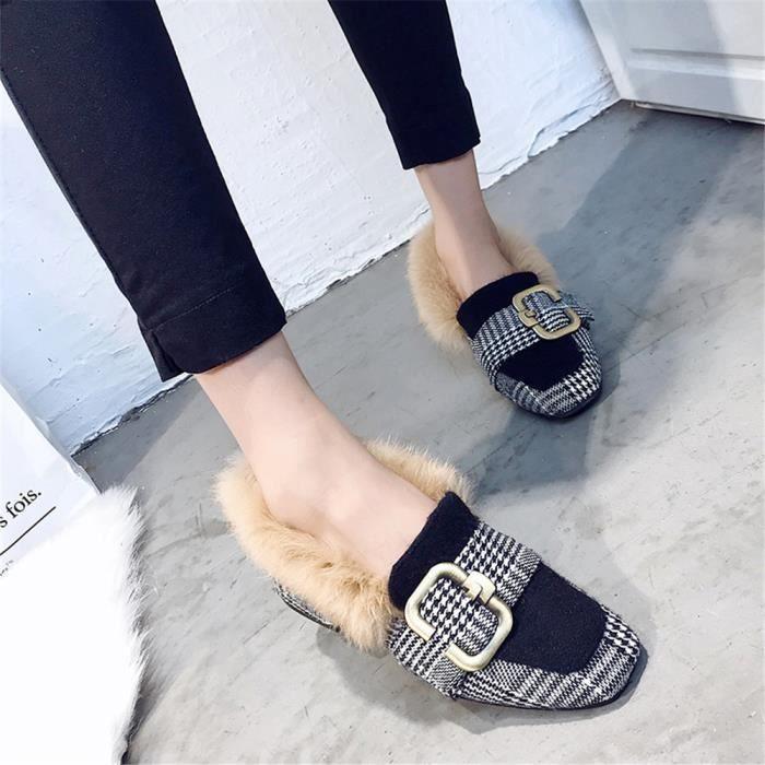 Femme Moccasin Hiver Meilleure Qualité Chaussures Pour Femmes AntidéRapant Chaussures de doublure en laine Chaud Plus De