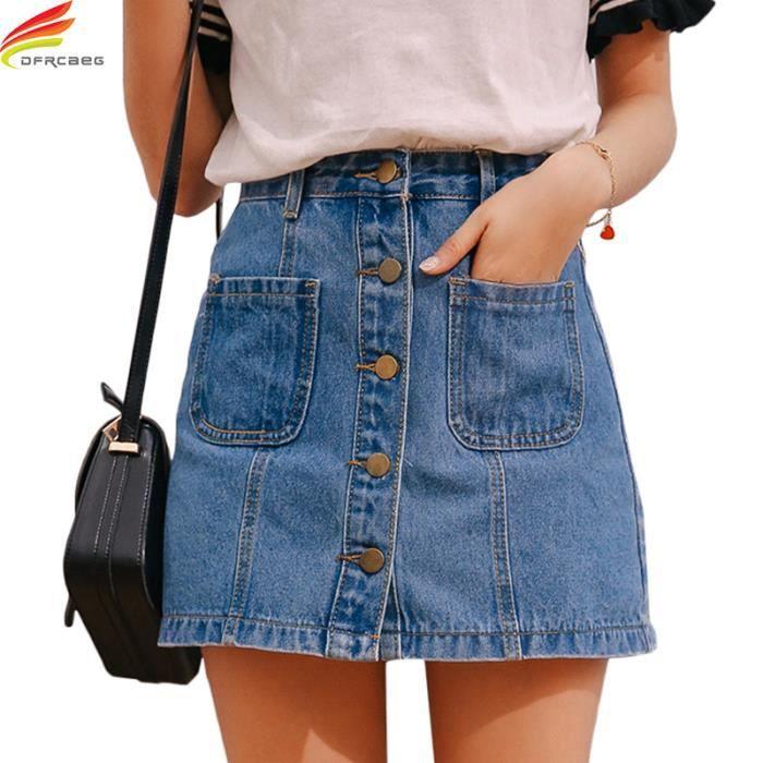 9f784b1bc9727f Zencart Denim Jupe Taille Haute A-ligne Mini Jupes Femmes D'été Nouvelle  Arrivée Unique Poches Bouton Bleu Jean Jupe