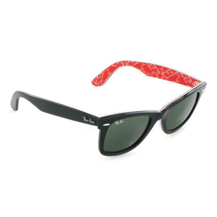 c18ee3ebfd LUNETTES DE SOLEIL Wayfarer 2140 noir/rouge Taille S (47mm). Ray Ban ...