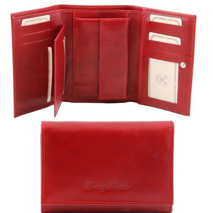 Tuscany Leather - Elégant portefeuille en cuir pour femme - Rouge