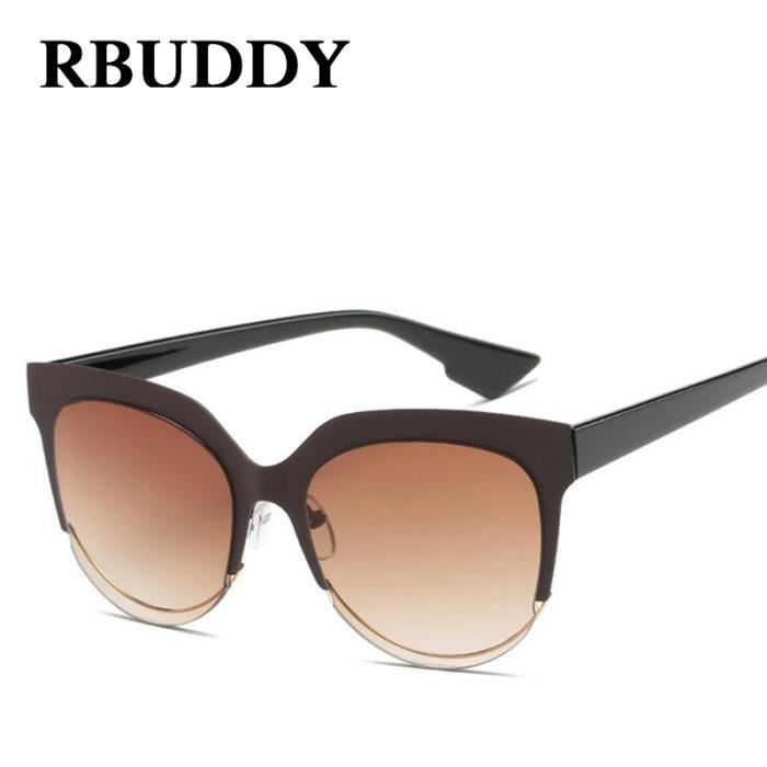 lunettes de soleil RBUDDY oeil de chat femmes concepteur de marque 2017  Vintage Metal Frame Mirror ... 559fb934949a