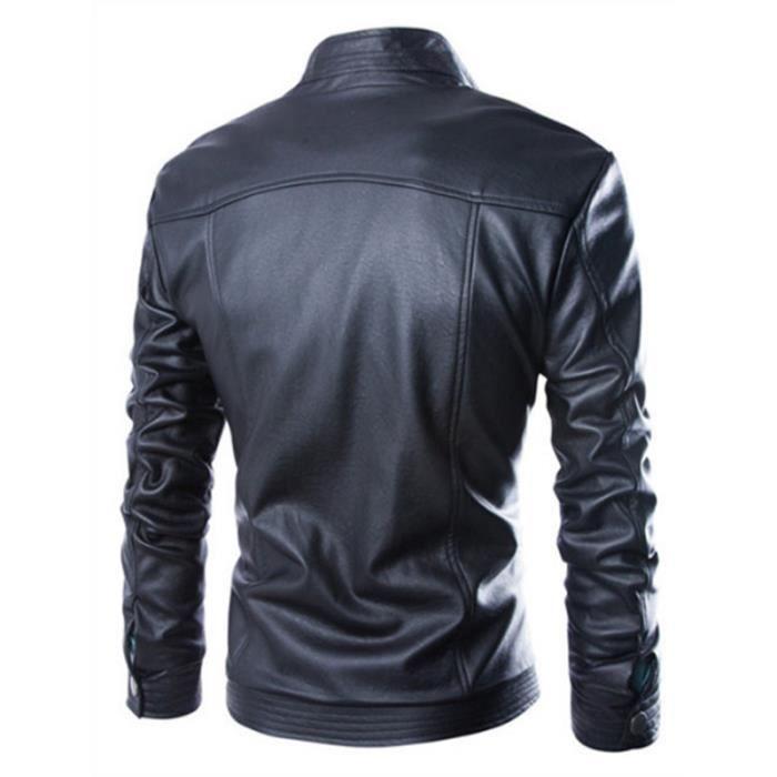 En Masculin Marque Hommes Cheminée Fonctionnelles Cuir Poches Vêtement Luxe Veste Homme Slim Noir Col Pu qOIFFw