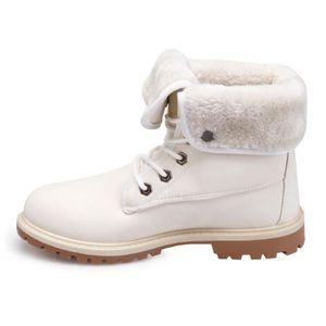 La Modeuse Rangers fourrés écru avec revers Blanc - Chaussures Chaussures-de-randonnee Femme