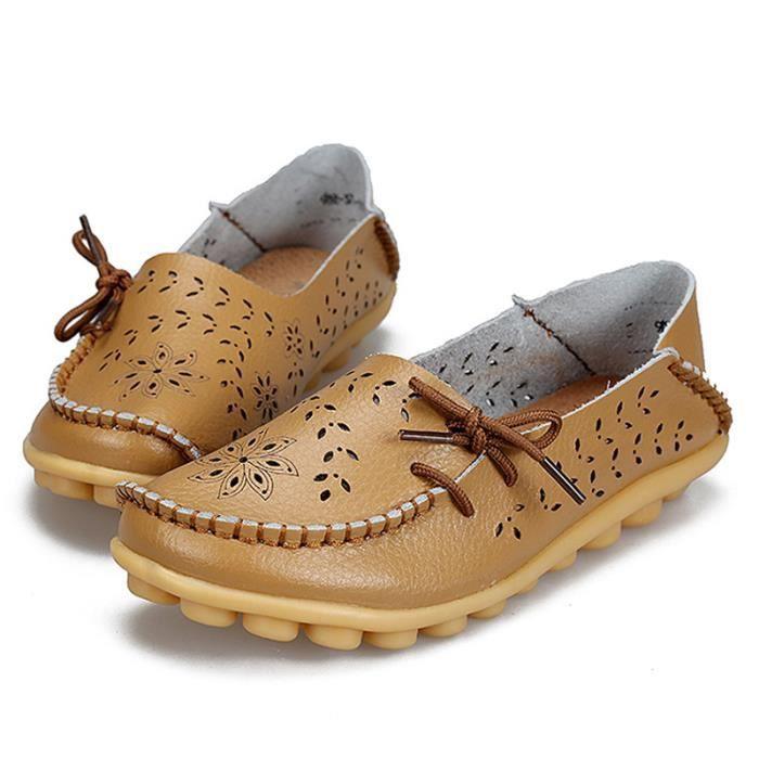 Mocassin Femmes Printemps Ete Mode Classique Plat Chaussure BYLG-XZ086Marron43 XnmrhAm