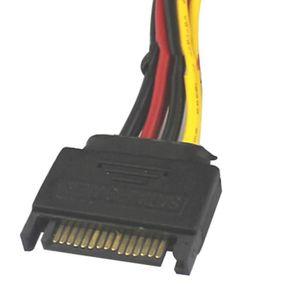 Fil - Conducteur Mâle SATA de Pin 15 à 2 Femelle Molex Femelle IDE