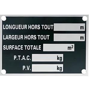 ADHÉSIF SIGNALISATION Plaque Constructeur - Remorque
