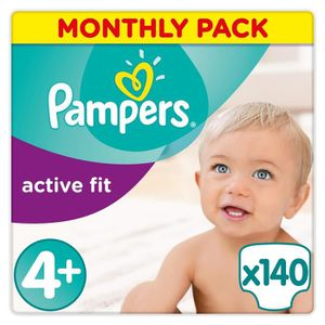 COUCHE PAMPERS Active Fit Taille 4+ - 9 à 18kg - 140 couc