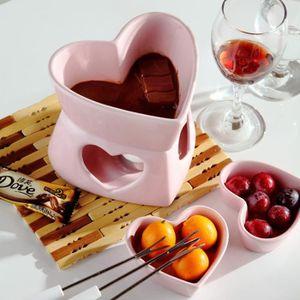 CHOCOLATIÈRE   Forme de coeur fondue rose set pot de crème glacée