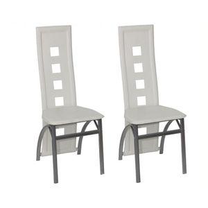 CHAISE Chaise design Quattro blanc (lot de 2)
