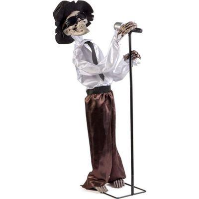 Squelette Chanteur De Blues Halloween 30 X 35 10 Cm