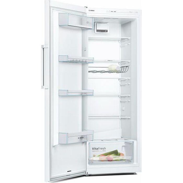BOSCH KSV29VW3P - Réfrigérateur 1 porte - 290 L - Froid statique - A++ - L 60 x H 161 cm - Blanc