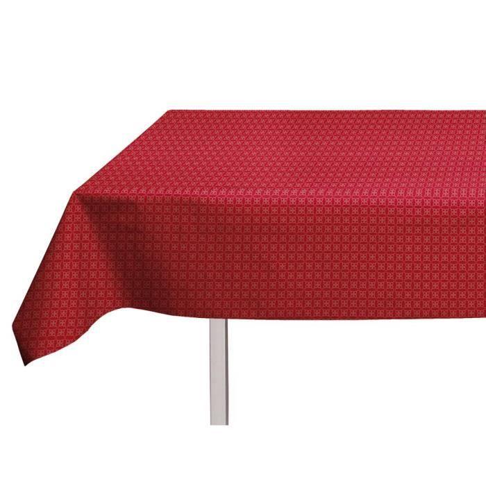 SOLEIL D'OCRE Nappe toile cirée rectangulaire Polka 140x240 cm rouge