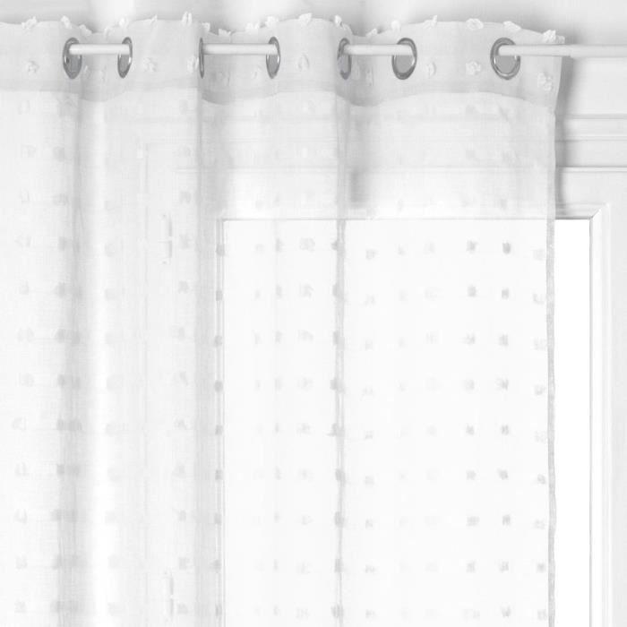 Voilage à œillets 140x240 cm Lily blanc Blanc - Achat   Vente ... 714863c986d3