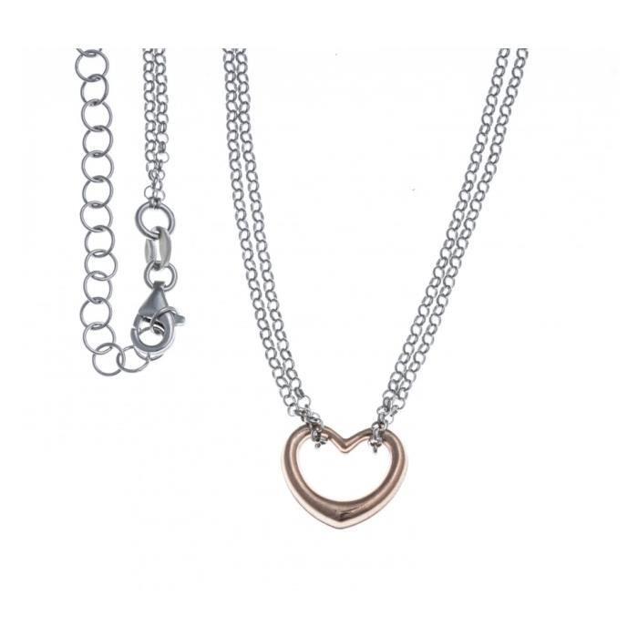 Bracelet argent rhodié - cœur - 2 tons - rosé - 40+5cm Gris