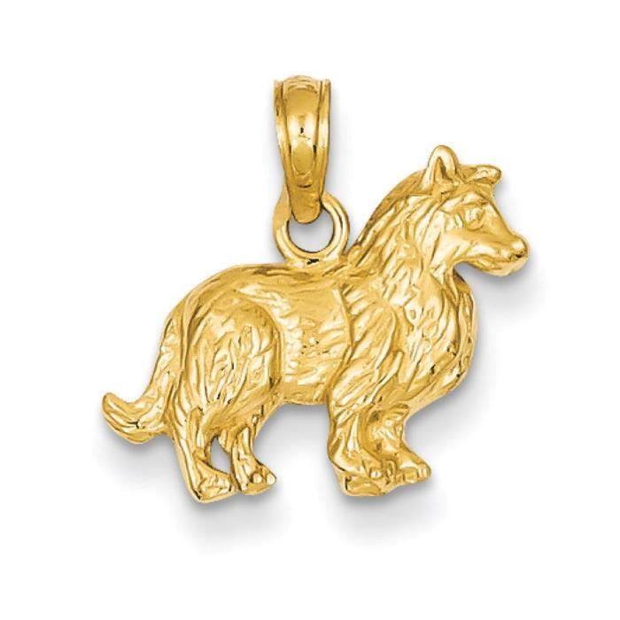Pendentif 14 carats Collie-Dimensions :15,4 x 16.7 mm
