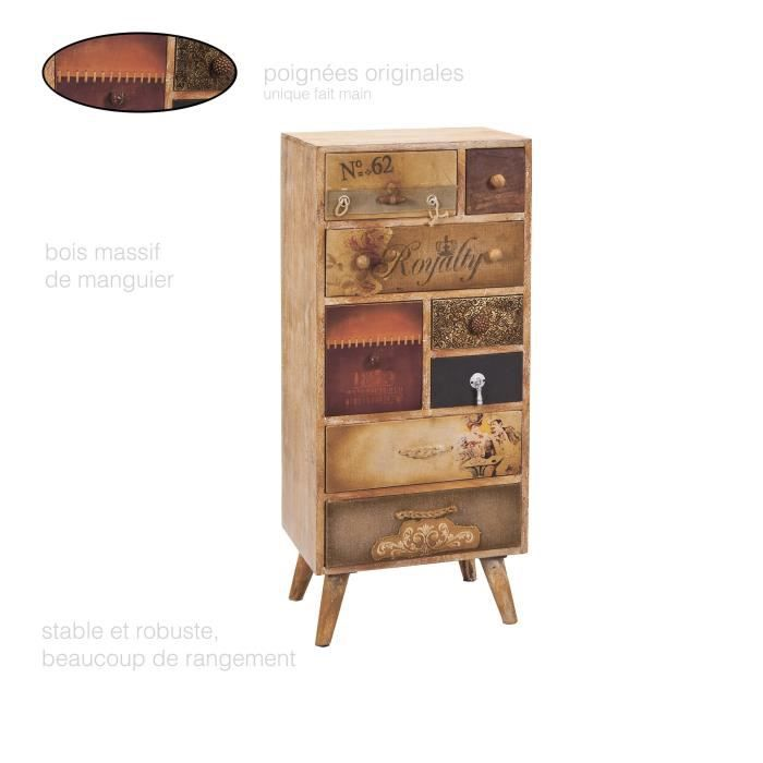 Commode Vintage, Commode Bois Massif, Commode 8 Tiroirs, Commode Chambre  Adulte, Commode Basse, Commode Apothicaire, Rangement