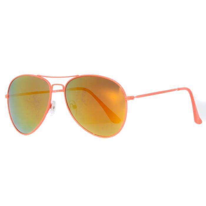 Accessoryo - Neon Orange Lunettes De Soleil Aviateur À Double Pont Des Hommes Avec Des Verres Miroir D'Or JbjolL3ved