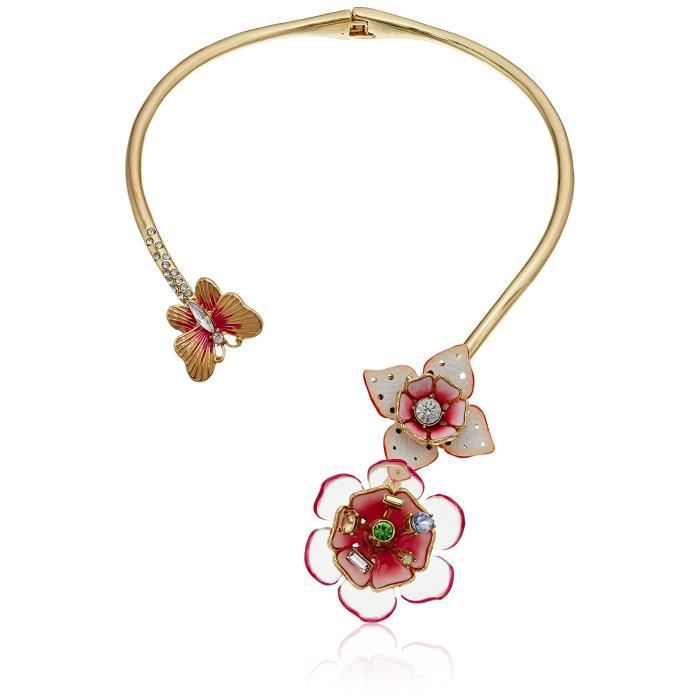 Betsey Johnson Leather Flower Hinged Collar Necklace Y57VX