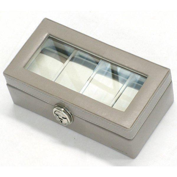 boite 4 montres en cuir beige achat vente boite a. Black Bedroom Furniture Sets. Home Design Ideas