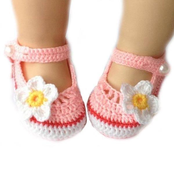 Fleur mignonne Baby Style Newborn Infant Toddler Filles main-tricotés laine crochet Chaussures Crib Shoes (blanc + rose) 9YqU6EG