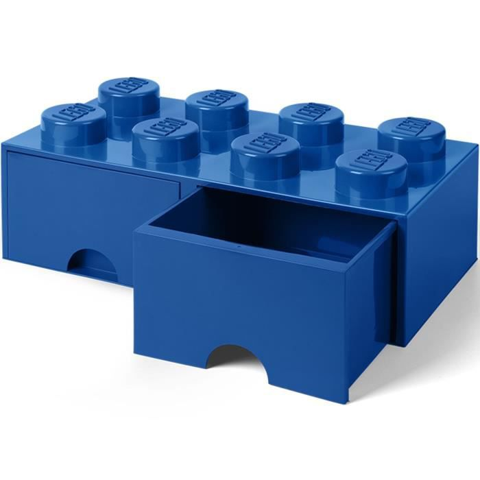 brique de rangement empilable avec tiroir 8 plots lego® bleu
