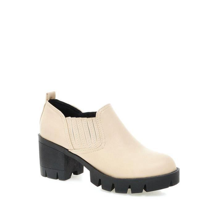 Chaussures femme Haut Carré épais Heel Bottines plate-forme CONTEMPORAIN match Chaussures femme 9644912