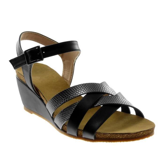 Angkorly - Chaussure Mode Sandale lanière cheville femme multi-bride peau de serpent liège Talon compensé 7 CM - Noir - BC377 T 35