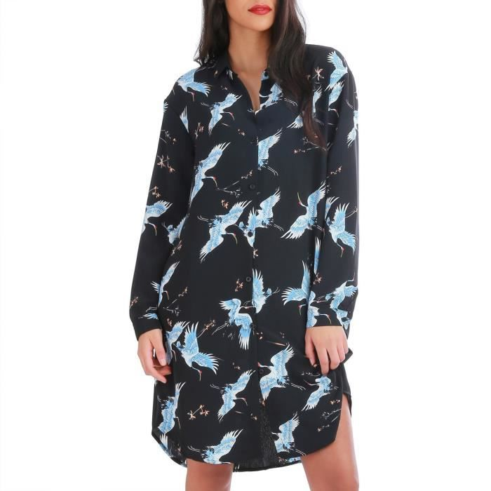 Robe chemise noire motifs oiseaux-S