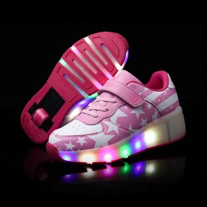 ea81f5899d5c2 Baskets Enfants LED Chaussures Lumineuse À Roulettes Garçons Filles  Sneakers Avec Roues Automatique De Patinage Chaussures avec