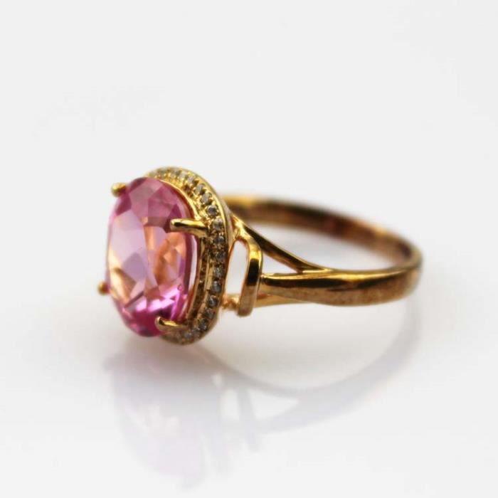 Or rose plaque Bague en argent 925ovale topaze rose strassOxyde de Zirconium bijoux femmes Taille 49