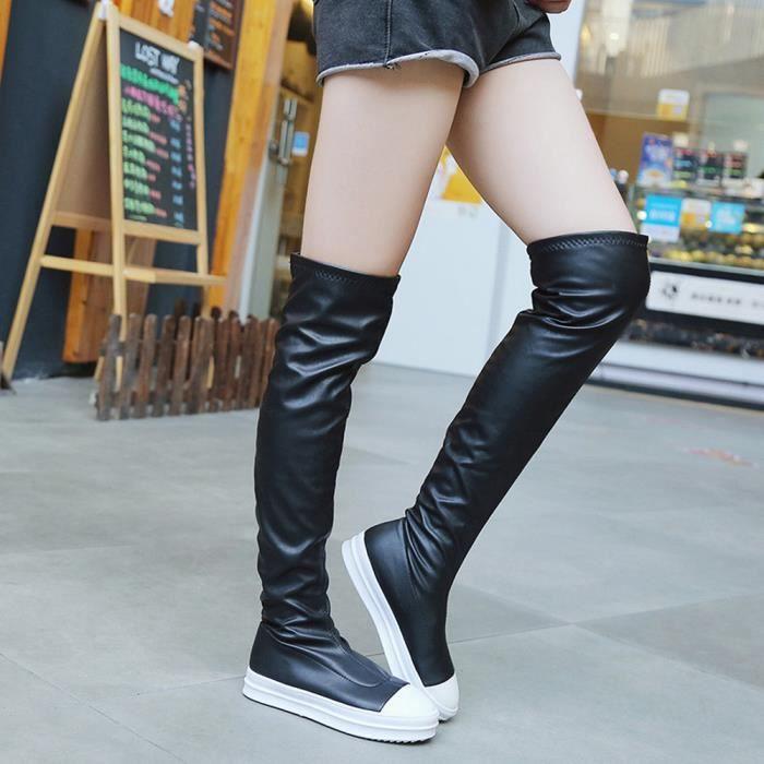 Les femmes de mode étirent les bottes minces hautes au-dessus des bottes de genou chaussures plates de talon Fjj7c26XgW