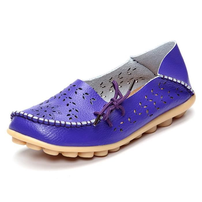Leather Casual Loafer Shoes, Gracosy Floral Hollow Out Driving Casual Shoes Indoor Flat Slip-on Slip DBJCQ Taille-36 1-2
